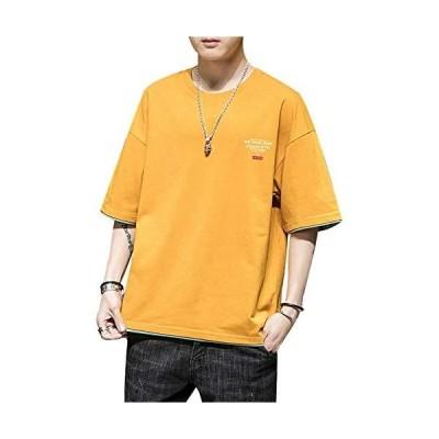 Tシャツ メンズ 半袖 七分袖 夏 カジュアル トップス 綿100% 大きい サイズ ゆったり 無地 ファッション 丸襟 快適 (イエロー L)