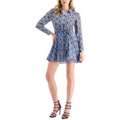 ゲス レディース ワンピース トップス Ensley Pleated Mini Dress Blue
