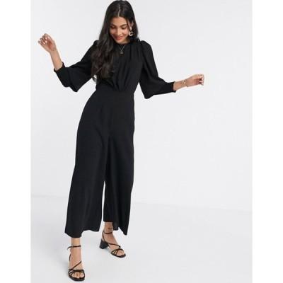 エイソス レディース ワンピース トップス ASOS DESIGN shirred sleeve jumpsuit in black