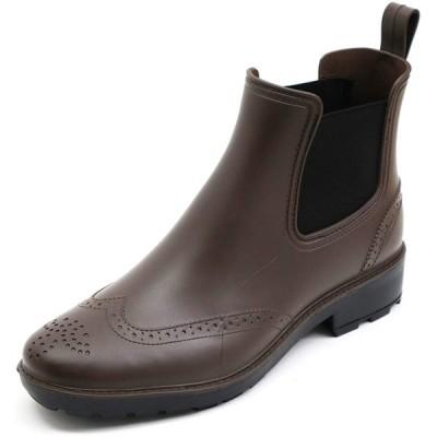[アシスタント] レインブーツ 長靴 メンズ 防水 ビジネス シューズ サイドゴア (ダークブラウン, L)