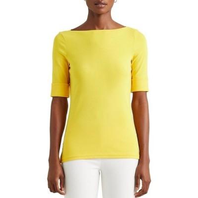 ラルフローレン レディース Tシャツ トップス Boat Neck Elbow Sleeve Cotton-Blend Knit Top Athletic Gold