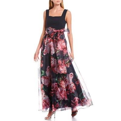 エリザジェイ レディース ワンピース トップス Square Neck Sleeveless Floral Print Bow Waist Detail Organza Ball Gown Navy Multi