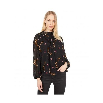 Madewell レディース 女性用 ファッション ブラウス Georgette Ruffle-Collar Smocked Top in Falling Freesias - Fresia Floral Almost