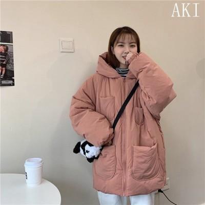 韓国風ダウンコートレディースアウターカジュアルあったか防寒防風秋冬軽量中綿可愛いダウンジャケットフート付き学生服