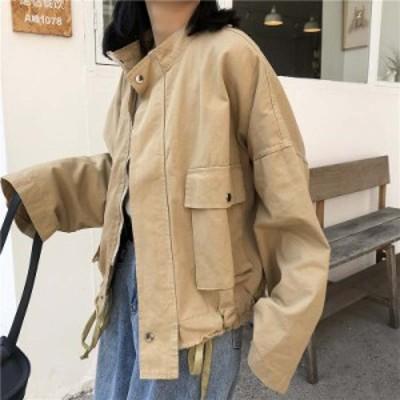 レディース ジャケット スタンドカラー あったか アウター オーバーサイズ ベージュ ブラック フリーサイズ 送料無料