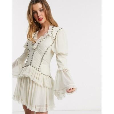 エイソス レディース ワンピース トップス ASOS DESIGN studded chiffon frill mini dress in Cream