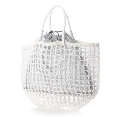 ラウゴア Laugoa トートバッグ レディース かごバッグ バッグインバッグ ペーパーバッグ(ホワイト)