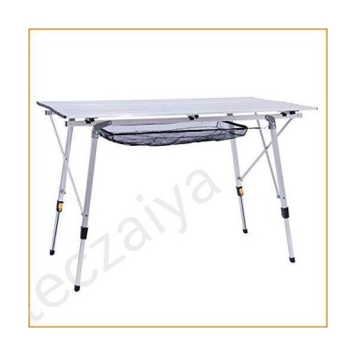 Alpen Outdoor Folding Aluminum Camping Table with Adjustable Table Legs for Outdoor Picnic Beach BBQ, Lightweight Camp Table with Mesh Layer