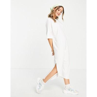 モンキ ミディドレス レディース Monki Kenny organic cotton midi t-shirt dress in white エイソス ASOS ホワイト 白