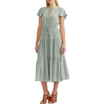 チャップス レディース ワンピース トップス Women's Tiered Flutter Sleeve Dress