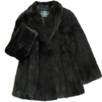 美品▼MOONBAT MINK ムーンバット ミンク 本毛皮コート ダークブラウン 毛質艶やか・柔らか◎