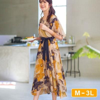 Ranan 【M~3L】イレヘム大花柄ワンピース  M レディース