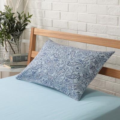 セブンプレミアムライフスタイル オーガニックコットン サテン織 ペイズリー 枕カバー Sサイズ ブルー