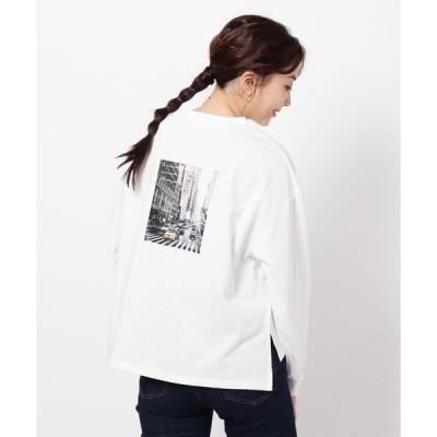 tシャツ Tシャツ オーガニックコットン(綿)ロゴ&フォトプリントプルオーバー