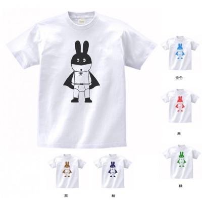 おもしろ パロディ バカ Tシャツ ウサギのコウモリ男 白