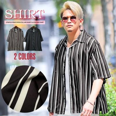 シャツ メンズ 半袖 ビッグシルエット ストライプ オープンカラー 総柄 ルーズ ストリート