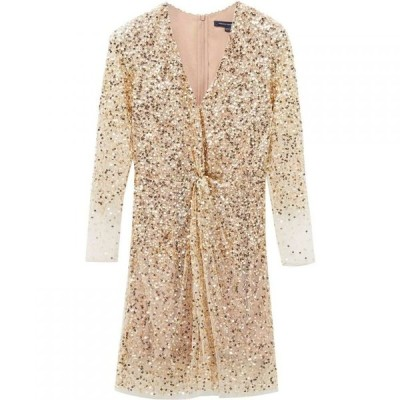 フレンチコネクション French Connection レディース パーティードレス ワンピース・ドレス Emille Sequin Plunge Dress Gold