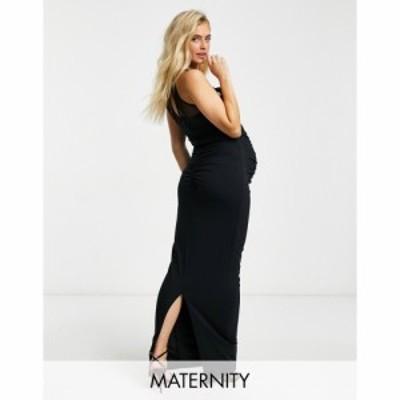 クラブエル Club L Maternity レディース ワンピース マタニティウェア ミドル丈 Club L London Maternity ruched cowl front detail mid