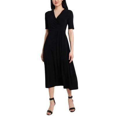 ミスク レディース ワンピース トップス Faux-Wrap Jersey Midi Dress
