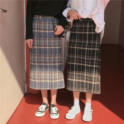 Iラインスカート チェック ミモレ丈 ハイウエスト スリット こなれ感 カジュアル 春
