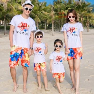 親子服 2点セット 家族服 夏 おしゃれ 親子お揃い服 パンツ 親子ペアルック ビーチ上下セットTシャツ カジュアルウェアハワイ風