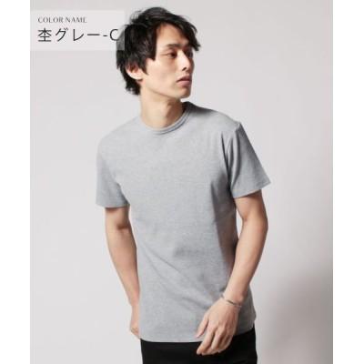(THE CASUAL/ザカジュアル)(バイヤーズセレクト)Buyer's Select スパンテレコ半袖Vネック/クルーネックカットソー/メンズ 杢グレー系1