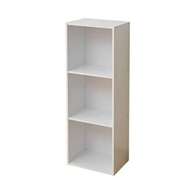 山善 カラーボックス 幅36×奥行26×高さ106cm 3段 A4対応 組立品 ホワイト KGAB-3(WH) (ホワイト)