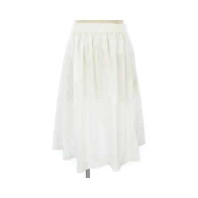 【中古】アンタイトル UNTITLED フレア スカート ひざ丈 薄手 無地 白 ホワイト系 3 レディース 【ベクトル 古着】