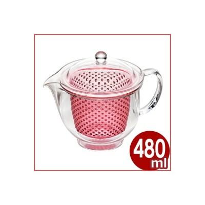 クリアティーポット L 480ml 曙産業 TW-3718 耐熱110℃ プラスチック(トライタン)製 ピンク