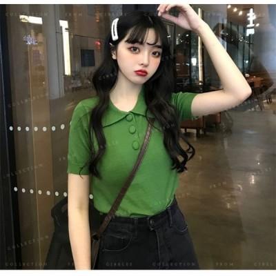 ポロシャツ超目玉!Tシャツ半袖韓国ファッションポロシャツかわいいトップス無地シンプルカジュアル女性大人気