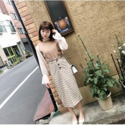 秋冬 カジュアル ロングスカート チェック柄 オシャレ ハイスリット スカート