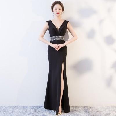 パーティードレス イブニングドレス 安い 可愛い 上品 エレガント ナイトクラブ キャバ スリット ロング