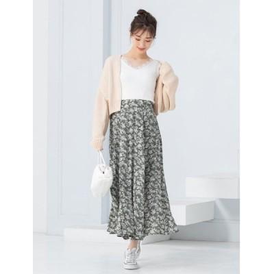 スカート 小花柄フロントタックロングスカート