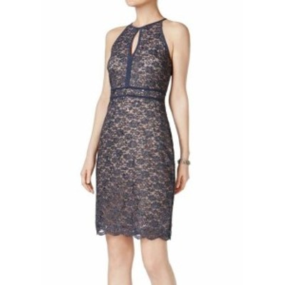 Nightway  ファッション ドレス Nightway NEW Gray Womens Size 8 Sequin Lace Keyhole Sheath Dress