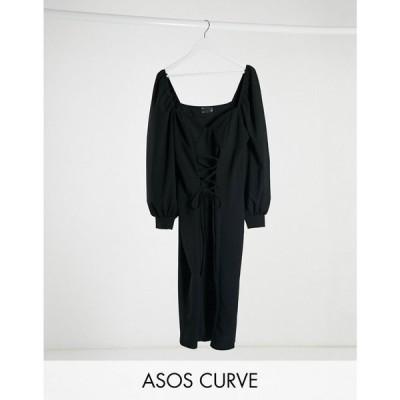 エイソス ASOS Curve レディース ワンピース レースアップ ミニ丈 ASOS DESIGN Curve mini dress with cup seam and lace up front in black ブラック