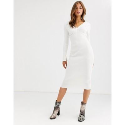 エイソス レディース ワンピース トップス ASOS DESIGN pleat detail knit midi dress with deep v