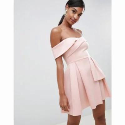 エイソス ワンピース Bardot Fold Wrap Front Mini Skater Dress Peony pink