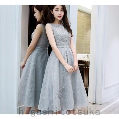 イブニングドレス パーティードレス 安い 可愛い 刺繍 チュール カラードレス 結婚式 披露宴 発表会 演奏会 ミディドレス【ミディアム】