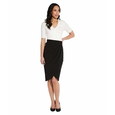 アドリアナ パペル ワンピース トップス レディース Knit Crepe Color-Blocked Wrap Dress Ivory/Black