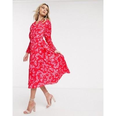 ネバーフリードレスド レディース ワンピース トップス Never Fully Dressed midaxi dress with shirred sleeve detail in contrast floral Multi