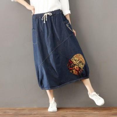 レディース スカート 伸縮ウエスト/ ゆったり/デニムスカート 刺繍デニム レディース レトロ 体型カバー Aラインスカート