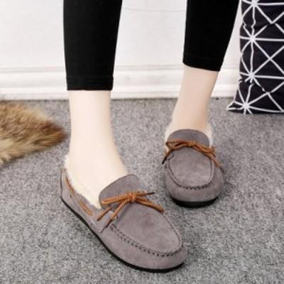 フェイクファー ムートン スリッポン モカシン レディース ぺたんこ 秋冬 もこもこ ブーツ 靴 シューズ  小さいサイズ