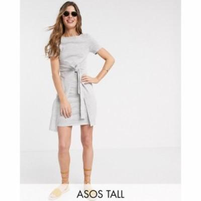 エイソス ASOS Tall レディース ワンピース ミニ丈 ワンピース・ドレス ASOS DESIGN Tall tie front textured mini dress in waffle in g