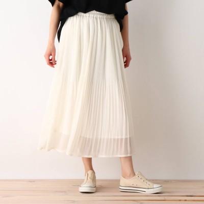 シューラルー SHOO-LA-RUE シフォン楊柳プリーツスカート (ホワイト)