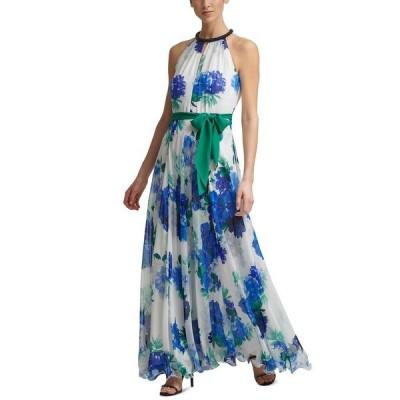 カルバンクライン ワンピース トップス レディース Beaded-Neck Chiffon-Floral Gown Regatta Blue Floral
