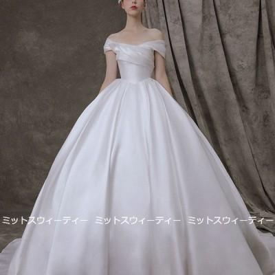 ウェディングドレス 二次会 前撮り 海外挙式 花嫁 フォト サテン プリンセスドレス 結婚式 ブライダル パーティードレス オフショルダー 後撮り セミオーダー