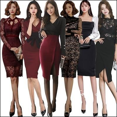 新作追加 Special Offer高品質韓国ファッションOL正式な場合礼装ドレスセクシーなワンピース一字肩二点セット側開深いVネックやせて見えるハイウエ