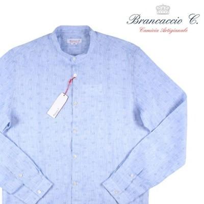 【41】 Brancaccio ブランカッチャ 長袖シャツ メンズ 春夏 リネン100% ブルー 青 並行輸入品 カジュアルシャツ