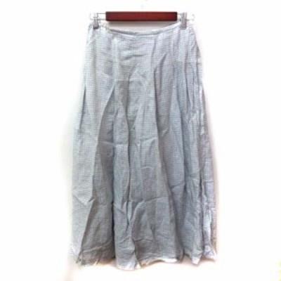 【中古】ナチュラリランドリー ロングスカート ラップ ギンガムチェック ペチコート付き 2 青 ブルー /YI レディース