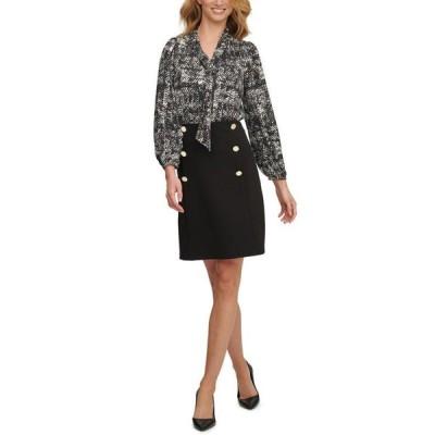 ダナ キャラン ニューヨーク レディース ワンピース トップス Tie-Neck Double-Breasted Skirt Dress